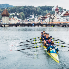 Winning Team Switzerland on the finish line of Red Bull X-Row 2016 in Luzern, on 8 october 2016.